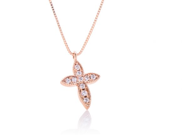 Diamond rose gold necklace with a cross