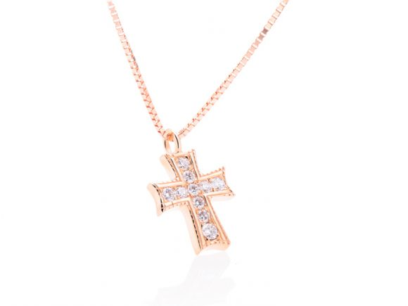 Necklace with a diamond cross, rose gold