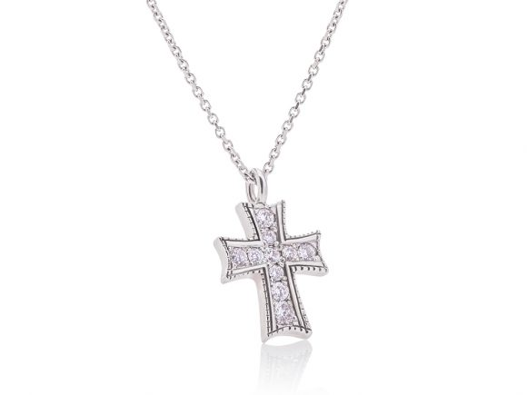 Necklace with a diamond cross, white gold