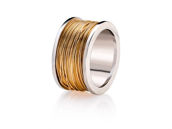 Ring-White gold coil with yellow gold wire
