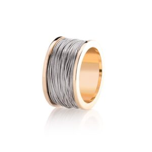 Ring-Yellow gold coil with white gold wire