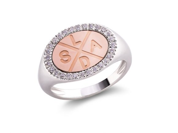 Statement Family ring with diamonds
