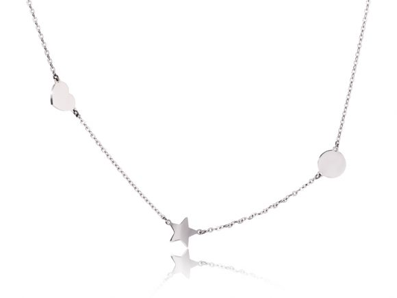 The Way necklace - Heart, star, circle - white gold