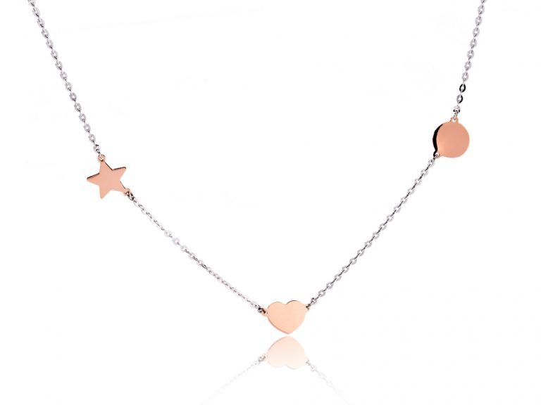 The Way necklace - Heart, star, circle - combination