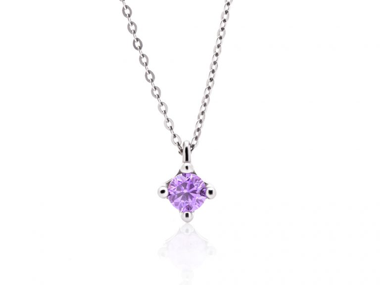 Necklace - Colorful cubes, white gold