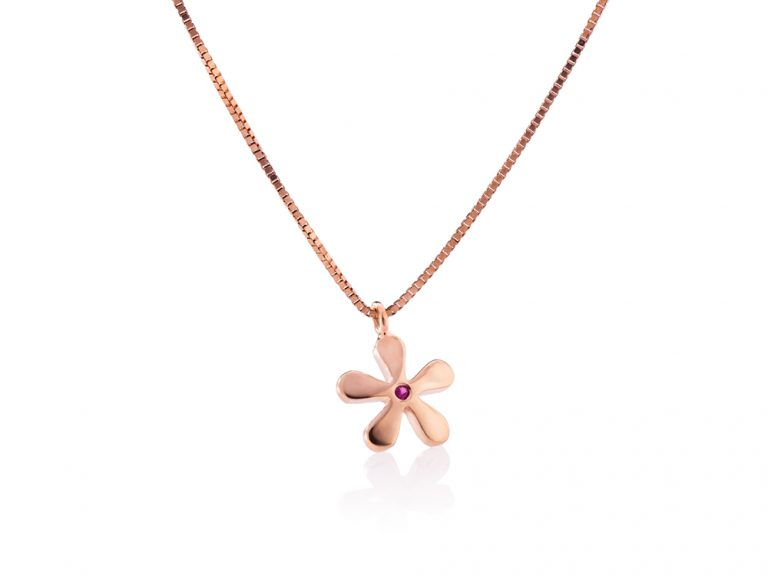 Necklace-Pink flower with Ruby