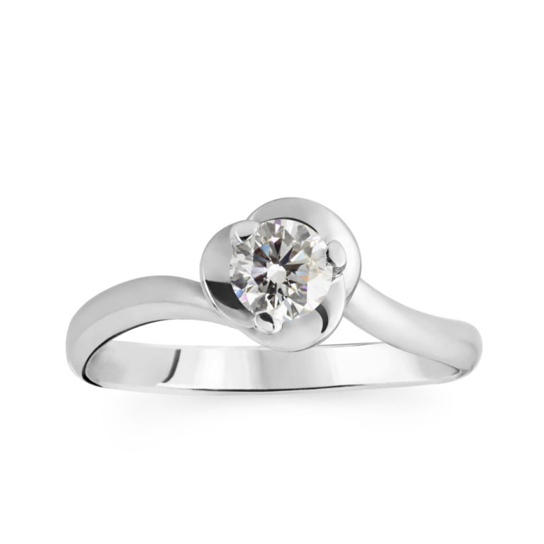 cd7aec6a1 Floral Solitaire Diamond Engagement Ring
